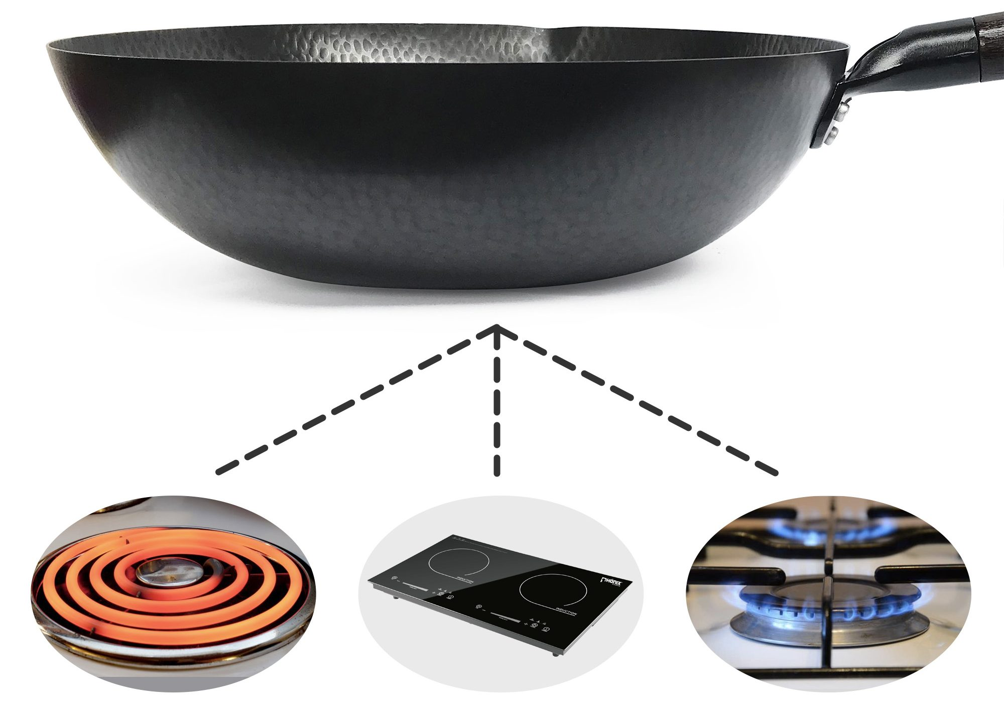 Stainless steel and cast iron wok alternative.