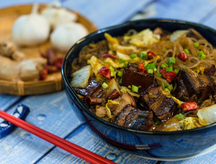 Braised Pork Belly with Noodles